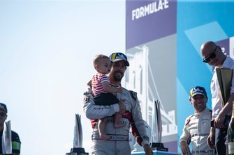 Lucas Di Grassi, Audi Sport ABT Schaeffler, 3rd position in the championship, carries his son Leonardo to the podium