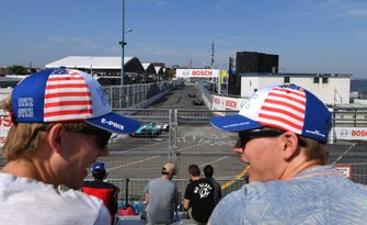 Fans over looking the track during practice