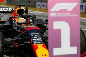 Max Verstappen, Red Bull Racing RB16B, 1st position, in Parc Ferme