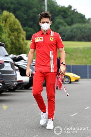 Charles Leclerc, Ferrari arriving at the track
