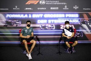 Lance Stroll, Aston Martin and Yuki Tsunoda, AlphaTauri in the Press Conference