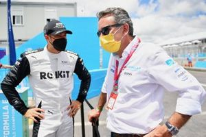 Edoardo Mortara, Venturi Racing, en discussion avec Alejandro Agag, président de la Formule E