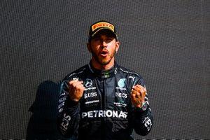 Lewis Hamilton, Mercedes, 1st position, celebrates on the podium