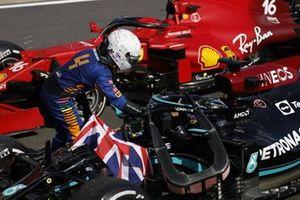 Lando Norris, McLaren, congratulates Lewis Hamilton, Mercedes, 1st position, in Parc Ferme