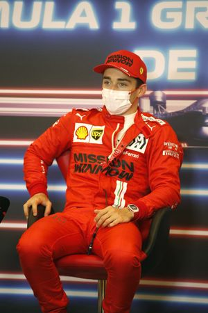 Pole man Charles Leclerc, Ferrari, in the post Qualifying Press Conference