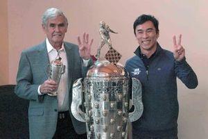 Al Unser, Takuma Sato, Baby BorgWarner trophy