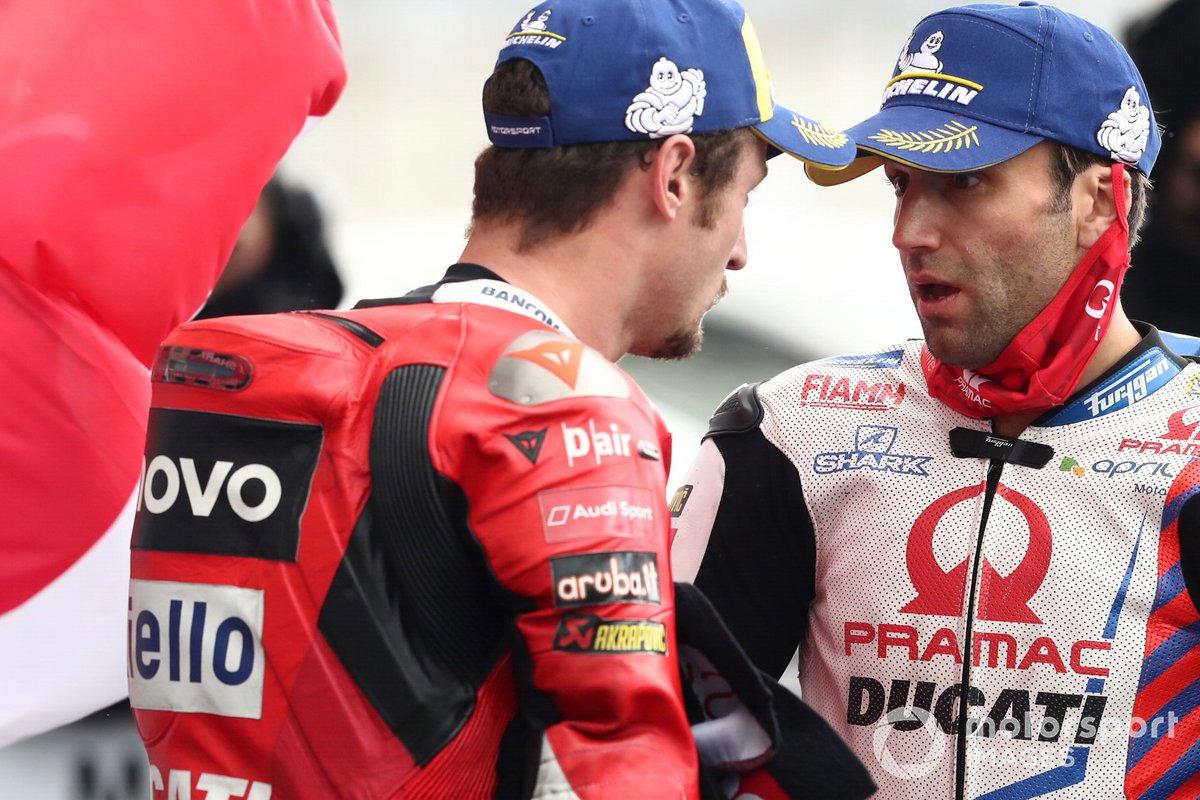 Ganador Jack Miller, Ducati Team, segundo lugar Johann Zarco, Pramac Racing