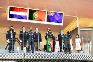 Antonio Felix Da Costa, DS Techeetah, celebrates with Robin Frijns, Envision Virgin Racing, Mitch Evans, Jaguar Racing, on the podium