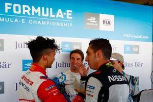 Antonio Felix da Costa, BMW I Andretti Motorsports, Sébastien Buemi, Nissan e.Dams and Felipe Massa, Venturi Formula E, congratulate Pascal Wehrlein, Mahindra Racing, afte he took Pole Position