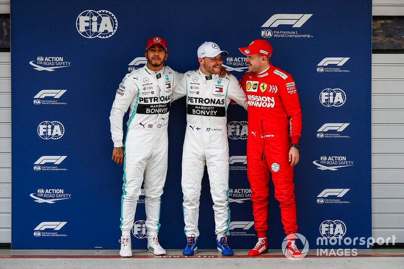 Top three Qualifiers Lewis Hamilton, Mercedes AMG F1, pole starter Valtteri Bottas, Mercedes AMG F1, and Sebastian Vettel, Ferrari