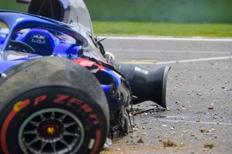 The damaged car of Alexander Albon, Toro Rosso STR14, after his crash