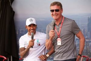Lewis Hamilton, Mercedes AMG F1, on stage with Presenter David Coulthard.