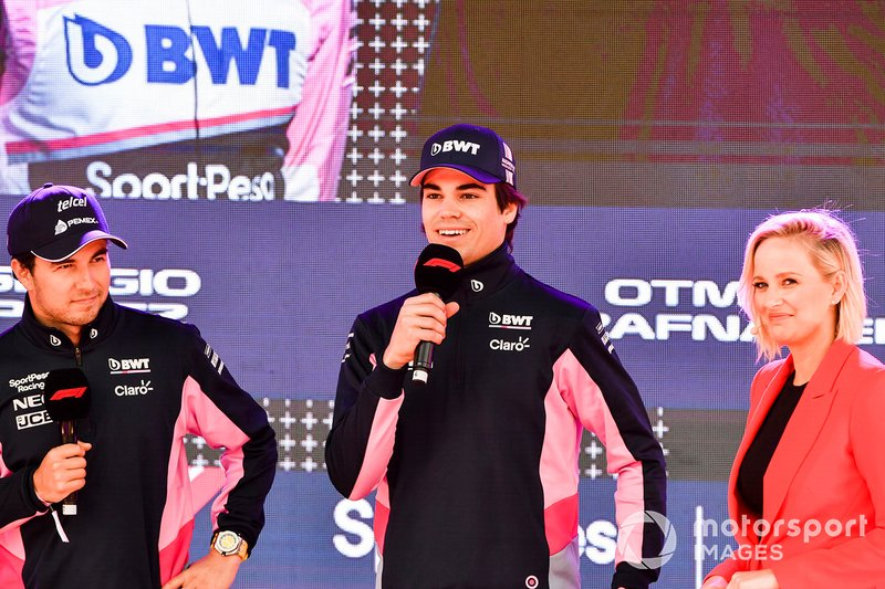 Sergio Perez, Racing Point e Lance Stroll, Racing Point, all'evento a Federation Square