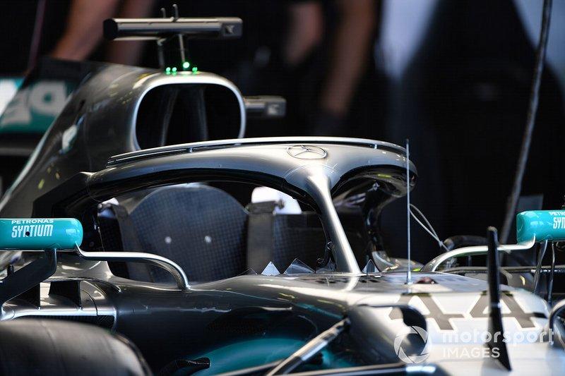 Halo on the Mercedes AMG F1 W10