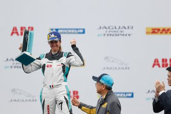 Célia Martin, Viessman Jaguar eTROPHY Team Germany celebrates 3rd position on the podium in the PRO AM class