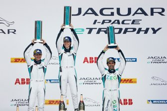 The PRO class podium: Katherine Legge, Rahal Letterman Lanigan Racing, Bryan Sellers, Rahal Letterman Lanigan Racing, Sérgio Jimenez, Jaguar Brazil Racing