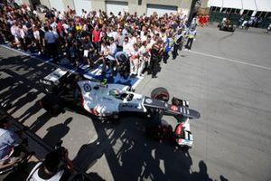 Sergio Perez, Sauber C31 Ferrari, arrives in Parc Ferme