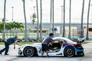 Crews unload the #41 MP1A BMW M4 GT3 driven by David Tuaty and Adam Yunis of TLM Racing