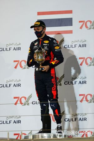 Alex Albon, Red Bull Racing, 3rd position, with his trophy