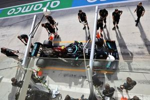 Valtteri Bottas, Mercedes W12, makes a stop during practice