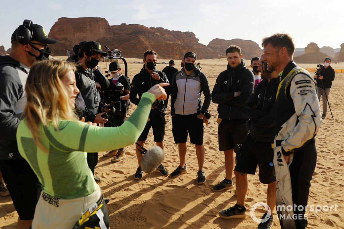 Mikaela Ahlin-Kottulinsky, JBXE Extreme-E Team, y Jenson Button, JBXE Extreme-E Team