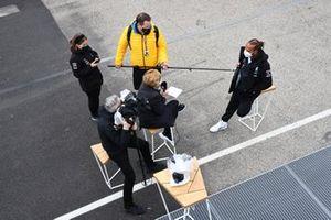 Lewis Hamilton, Mercedes, talks to the press