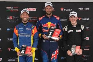 Race winner Shane van Gisbergen, second place Chris van der Drift, third place Matthew Payne