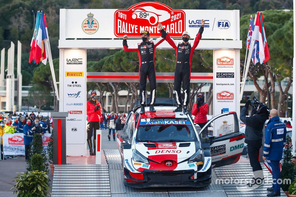 Les vainqueurs Sébastien Ogier, Julien Ingrassia, Toyota Gazoo Racing WRT Toyota Yaris WRC