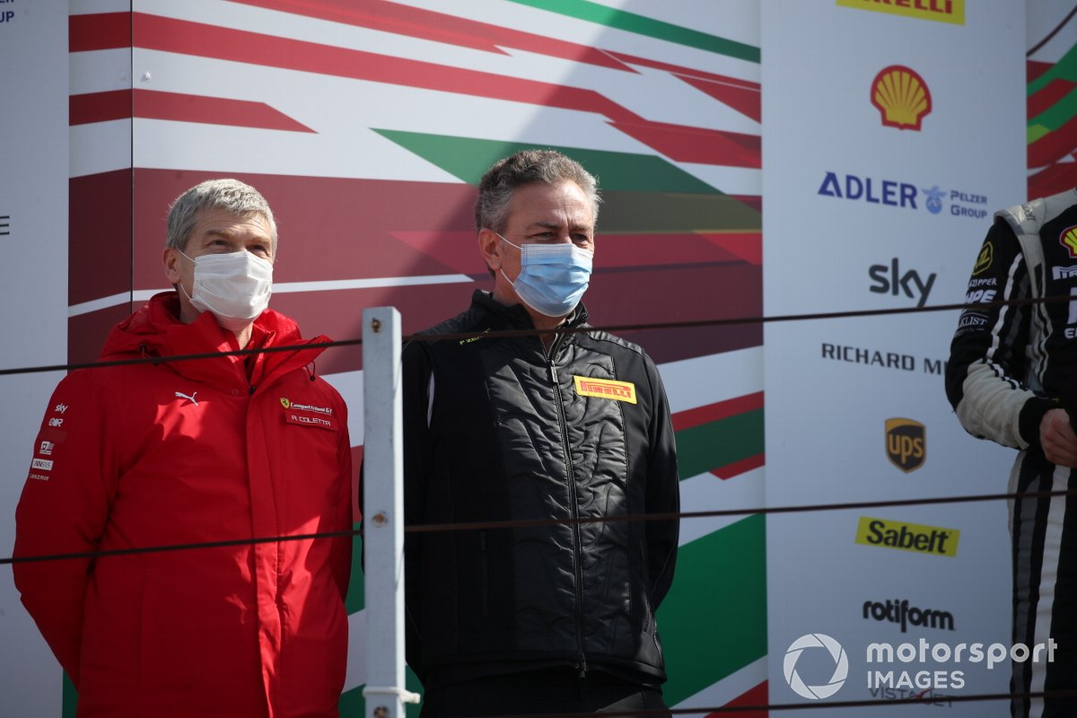 Antonello Coletta, responsabile Competizioni GT e Corse Clienti Ferrari, e Mario Isola, Responsabile car racing di Pirelli