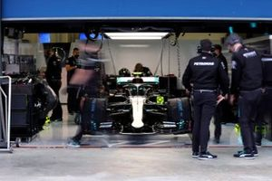 The car of Valtteri Bottas, Mercedes F1 W11, in the garage