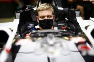 Mick Schumacher sits in his Haas VF-20 for his seat fitting
