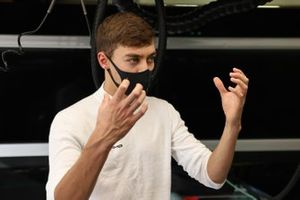 George Russell, Mercedes-AMG F1 in the garage