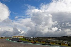Alex Albon, Red Bull Racing RB16, Sebastian Vettel, Ferrari SF1000, and Lewis Hamilton, Mercedes F1 W11