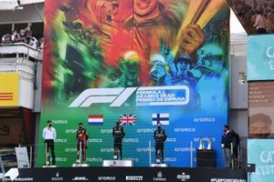 Max Verstappen, Red Bull Racing, 2nd position, Lewis Hamilton, Mercedes-AMG Petronas F1, 1st position, Valtteri Bottas, Mercedes-AMG Petronas F1, 3rd position, on the podium