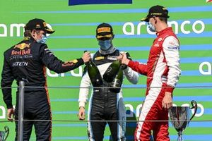 Jake Hughes, Hwa Racelab, 1st Position, Liam Lawson, Hitech Grand Prix, 2nd Position, And Logan Sargeant, Prema Racing, 3rd Position