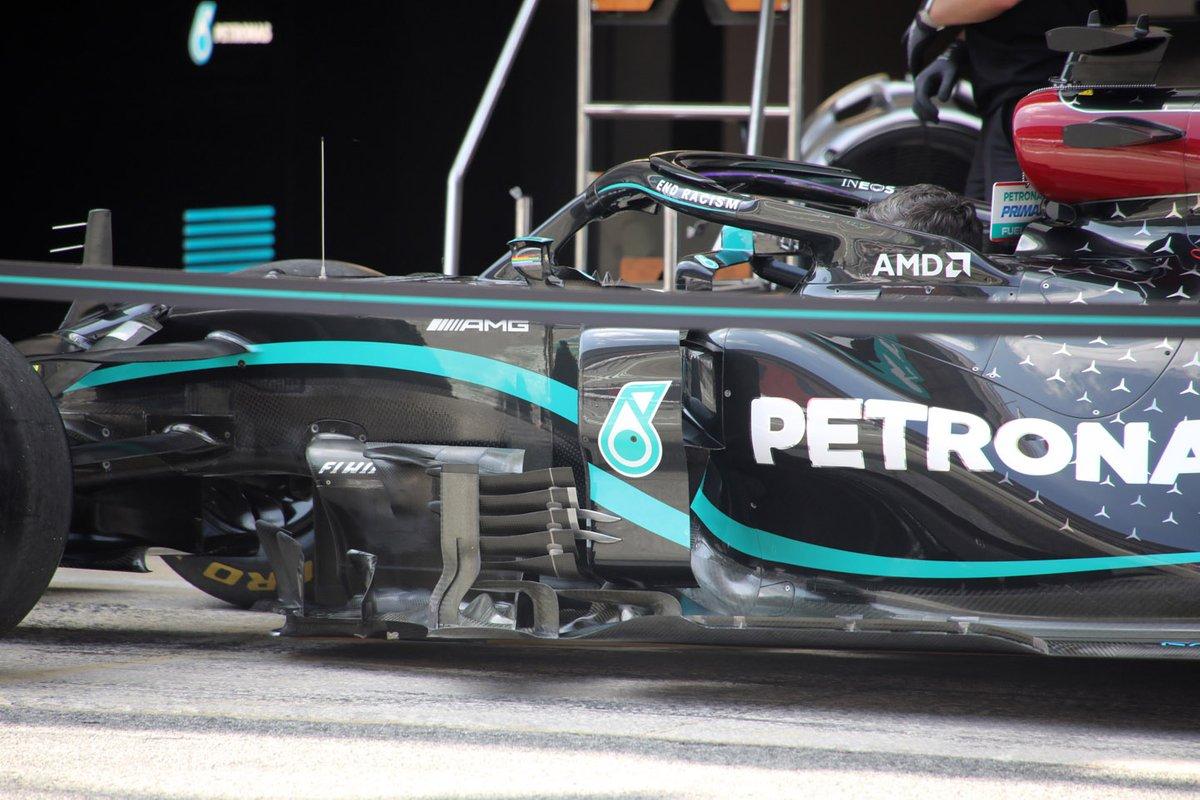 Mercedes F1 W11 detalle de los sidepods