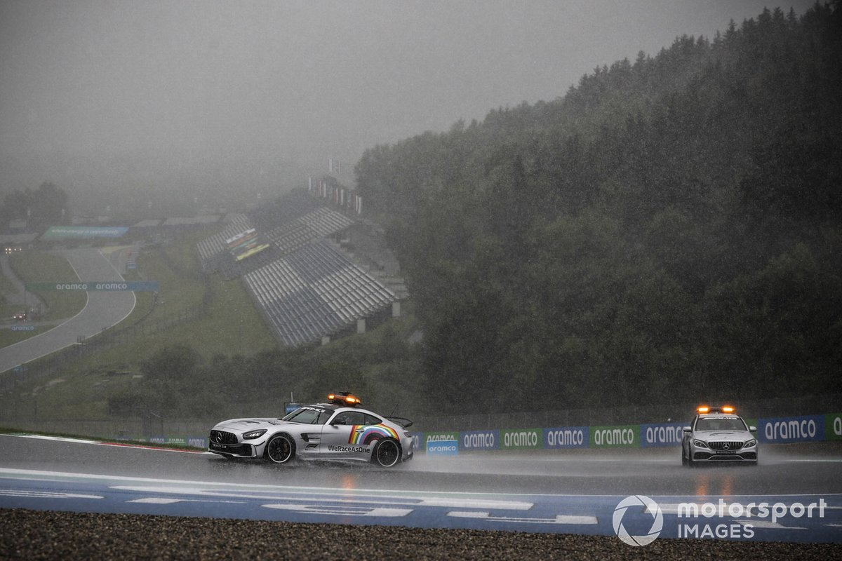 Safety Car and Medical Car drives around in heavy rain