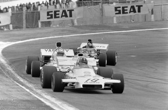 Graham Hill, Brabham BT37 Ford, Peter Revson, McLaren M19A Ford y Carlos Pace, March 711 Ford