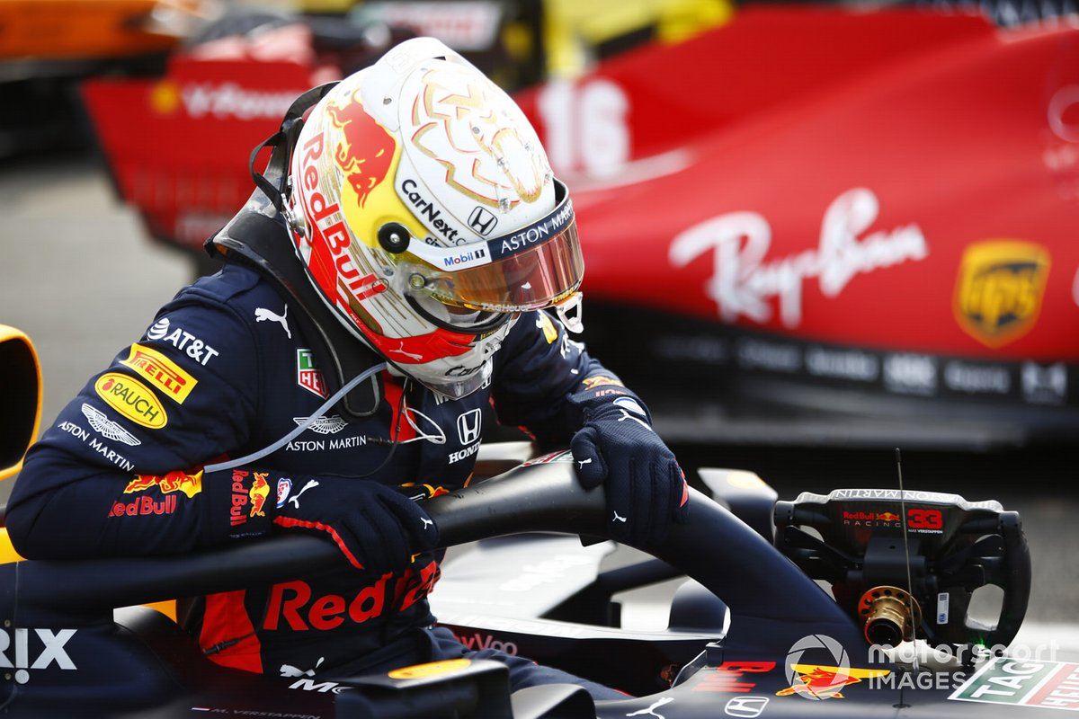Max Verstappen, Red Bull Racing, 2nd position, arrives in Parc Ferme