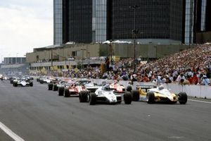 Alain Prost, Renault RE30B, Keke Rosberg, Williams FW08 Ford, Didier Pironi, Ferrari 126C2, Bruno Giacomelli, Alfa Romeo 182, Eddie Cheever, Ligier JS17 Matra, Nigel Mansell, Lotus 91 Ford