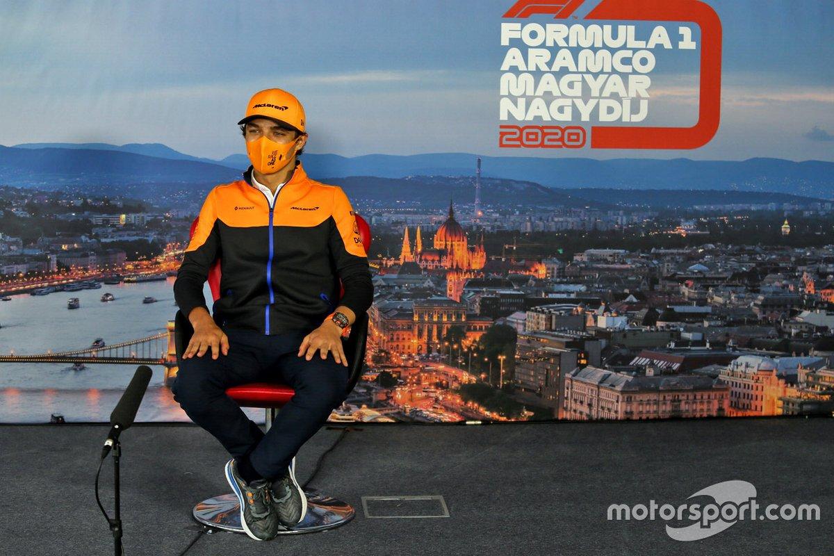 Lando Norris, McLaren in the press conference