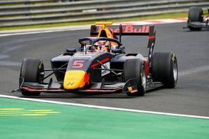 Liam Lawson, Hitech Grand Prix, leads Max Fewtrell, Hitech Grand Prix