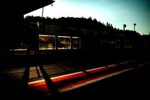 The pit lane at sunset