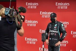 Pole sitter Valtteri Bottas, Mercedes AMG F1, is interviewed