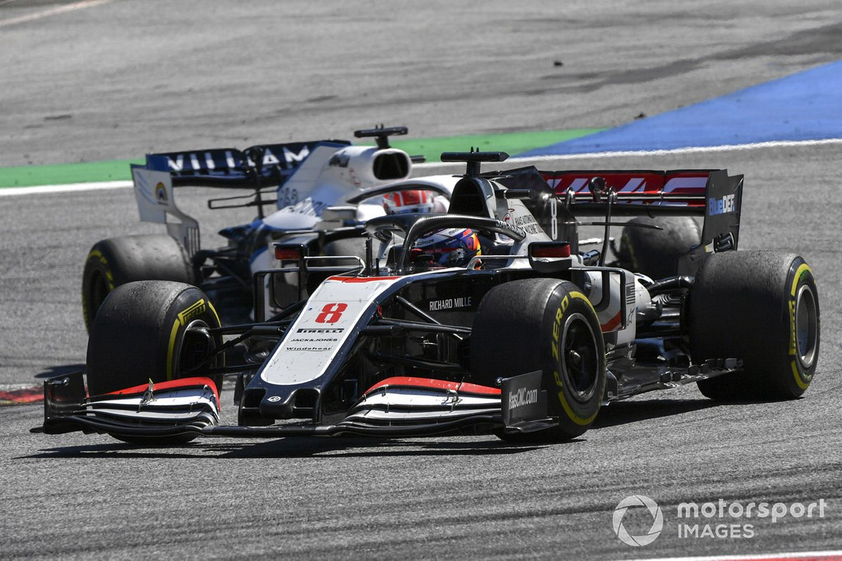 Romain Grosjean, Haas VF-20 and George Russell, Williams FW43