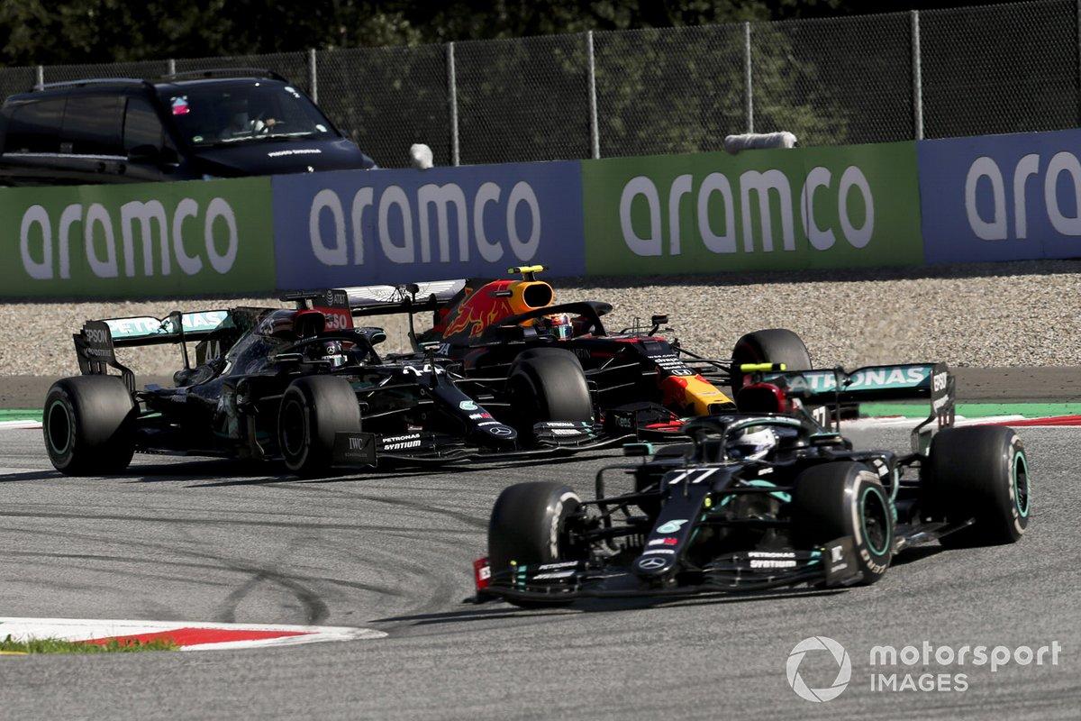 Valtteri Bottas, Mercedes F1 W11 EQ Performance, leads Lewis Hamilton, Mercedes F1 W11 EQ Performance, and Alex Albon, Red Bull Racing RB16