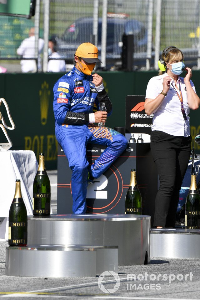 Lando Norris, McLaren festeggia sul podio il terzo posto