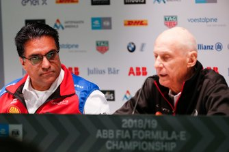 Dilbagh Gill, CEO, Team Principal, Mahindra Racing, Jean-Paul Driot, Nissan e.Dams, in the press conference