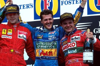Podium : Gerhard Berger, Ferrari second; Michael Schumacher, Benetton vainqueur; Rubens Barrichello, Jordan troisième