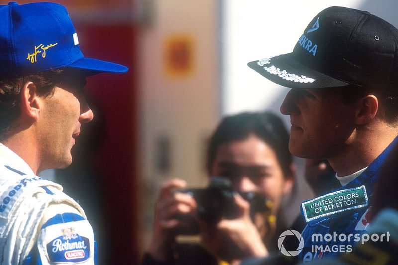 Ayrton Senna, Williams; Michael Schumacher, Benetton